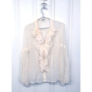 Boston Proper Sheer Ruffle Front Blouse Size 10